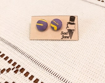 Fabric Covered Button Earrings PURPLE & YELLOW