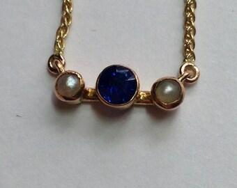 Vintage Sapphire Pearl 14K Pendant