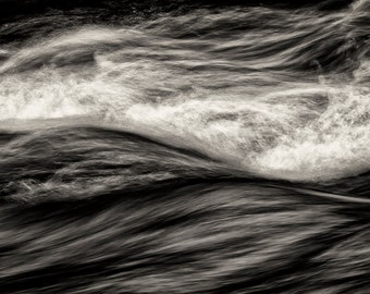 Landscape Photography, Turbulence, River, Abstract, Pacific Northwest, Fine Art Black and White Photography, Wall Art, Home Decor, Zen