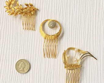 Trio of vintage gold bridal combs