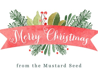 Merry Christmas Banner | Business | Watercolor Greenery | Business Thank you card | Instagram hashtag Cards-FREE SHIPPING or DIY printable