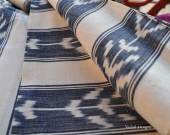 Cool blue Heavy Ikat fabric Homespun cotton fabric by the yard