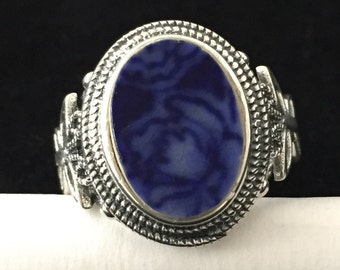 Broken china jewelry - flow blue china - sterling silver adjustable ring