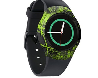 Skin Decal Wrap for Samsung Gear S2, S2 3G, Live, Neo S Smart Watch, Galaxy Gear Fit cover sticker Green Distortion