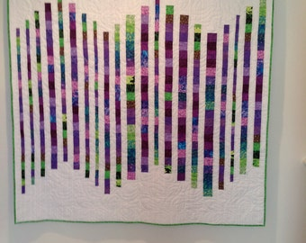 Modern Lap Quilt in Shades of Purple and Green
