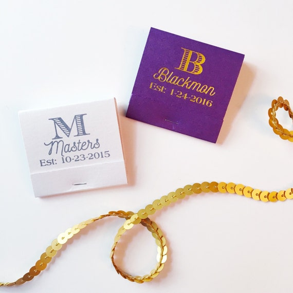 monogrammed matches, wedding matches, reception match book, monogram matchbook, sparkler send off, wedding matches