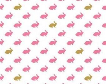 Riley Blake Fabric-Wonderland Collection-Wonderland Rabbit White-Fabric by the Yard-Quilting Fabric-Sewing Fabric-Melissa Mortenson-Yardage