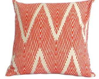 """Set Of Two-Designer Decorative Pillow Cover-Orange Ikat Chevron  Pillow Cover-18""""x18""""20""""x20""""- Accent Pillow-Throw Pillow-Lumbar Pillow"""