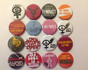 """Feminist Pin 1.25"""" pin back buttons Set of 16 Different Feminism badges Assortment of left wing, civil rights, women's liberation, gift set"""