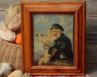 "Vintage Nautical Print, Charming framed print titled ""The Old Skipper's Pride""."