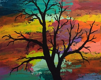 """Colorful Abstract Tree Original 11"""" X 14"""" Acrylic Painting on a canvas panel."""