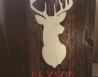 Rustic Deer Silhouette with Custom Name