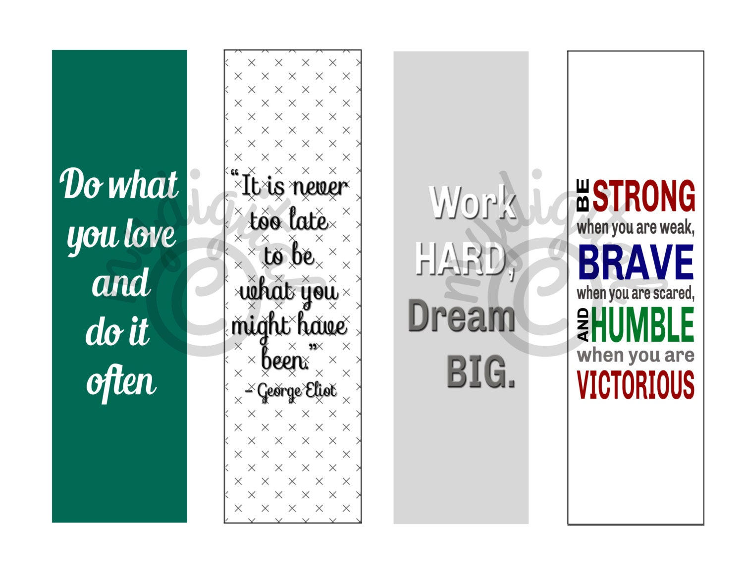 Printable Bookmarks Printable Quote Motivational