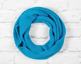 Turquoise Blue Cotton Scarf, Blue Infinity Scarf, Infinity Scarf, Lace Infinity Scarf, Circle Scarf, Lace Scarf, Turquoise Infinity Scarf