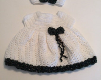 Baby girl holiday dress 0-3 months, hand crocheted