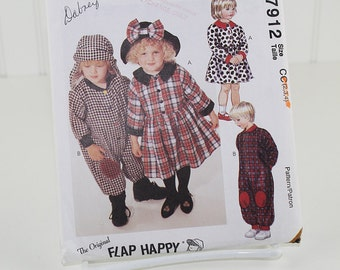 Toddler Jumpsuit, Dress and Hats, UNCUT Sewing Pattern, McCall's 7912 - Size 2-4