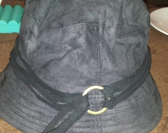 Black Leather Bucket double belt Hat