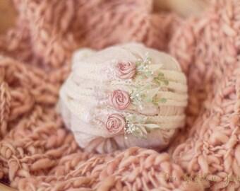 Soft Peach Headband: newborn peach tieback photography prop; newborn peach headband photo prop; organic peach headband prop