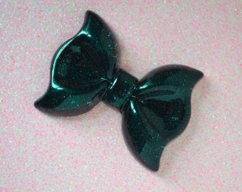 60mm HUGE Kawaii Black Glitter Bow Decoden Cabochon - 1 piece