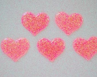 37mm Glitter Hot Pink Heart Flatback Resin Decoden Cabochon - 5 piece set