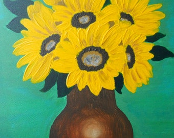 Floral Painting, Floral Acrylic, original acrylic painting, vase of flowers, sunflowers, signed art