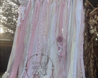 Shabby Chic Curtains Vintage Rachel Ashwell Fabric Ribbon And Sequin Backdrop Pink White Ivory Sparkle
