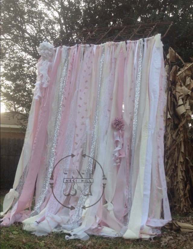 Shabby Chic Curtains Vintage Rachel Ashwell Fabric Ribbon And
