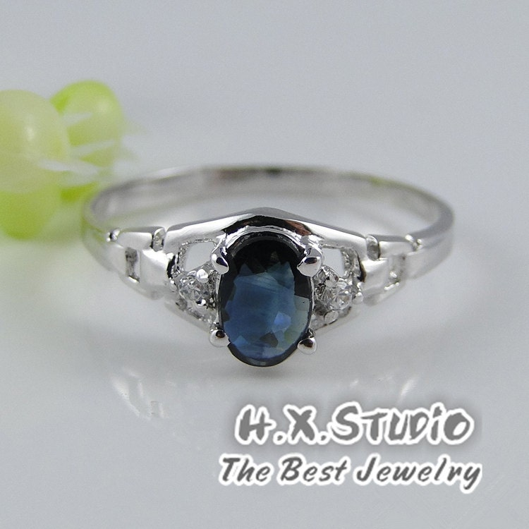 genuine blue sapphire sliver ring 925 sapphire ring. Black Bedroom Furniture Sets. Home Design Ideas