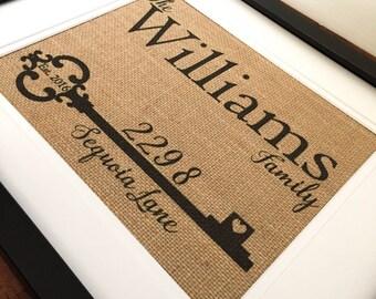 Burlap Key Print, Home Address Print, Housewarming Gift, Closing Gift, Framed