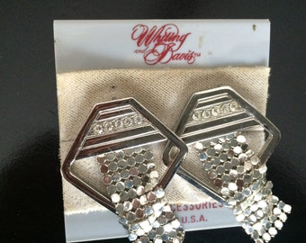 Whiting and Davis silver mesh and rhinestone earrings