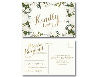 Wedding RSVP Postcard, Wedding Response Postcard, RSVP Postcard, Wedding Postcard, RSVP, Wedding Rsvp Response Card, Rustic Wedding #CL120