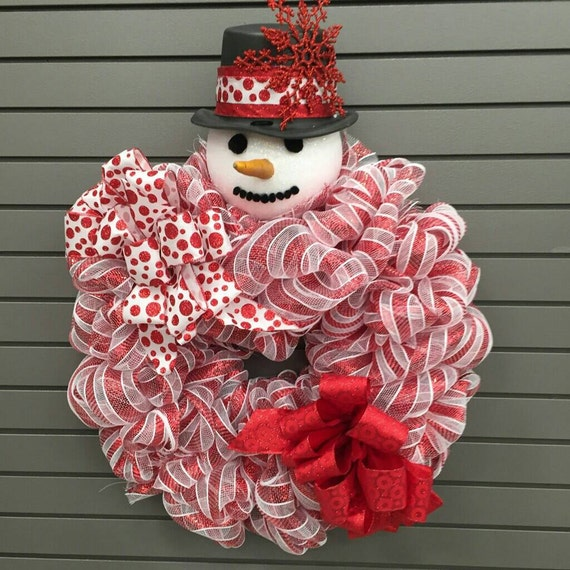 Red and White Snowman Mesh Wreaths