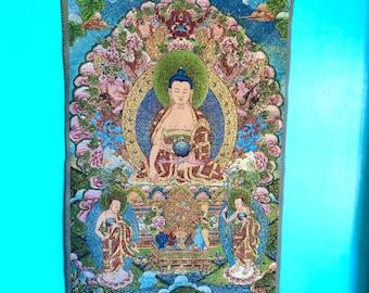 Healing Buddha, Tapestry, Weaving, Shimmering, Wall Hanging, Thangka, Fiber Art