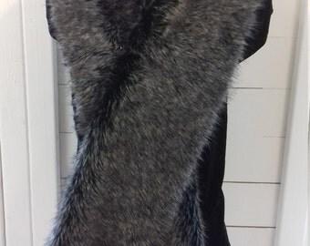 Gray wolf scarf faux fur scarf