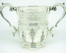 Antique Silver Trophy Cup, Sterling, Agricultural Society Prize, LOCHABER, 2 Two Handled, Hallmarked Sheffield 1898, REF:297R