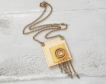 Handmade Genuine Leather Geometric Necklace/Beige and Gold Leather Jewelry