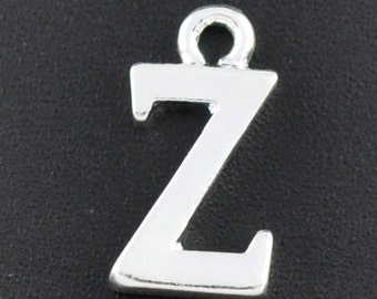 8 Letter Z Charm Silver Plated 15mm x 10mm