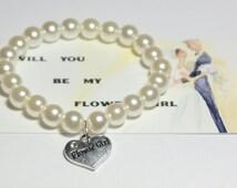 flower girl bracelet - be my flower girl - ask flower girl - childrens bracelet - flower girls - wedding flower girl - handmade bracelet