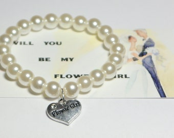 flower girl bracelet - be my flower girl - ask flower girl - childrens bracelet - flower girls - wedding flower girl - girls bracelet