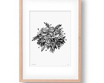 Flower Bouquet Wall Art Illustration Print