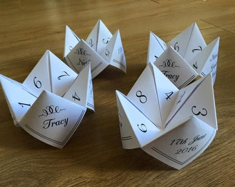 Paper fortune tellers/cootie catchers Digital file to print at home! Great table games or favours