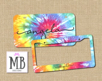 Tie Dye License, Personalized License Plate, Monogram License Plate, License plate, tie dye, gift for sister, boho gift, car gift