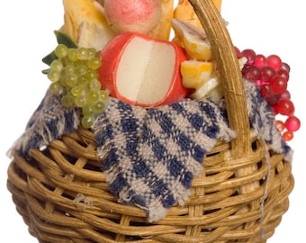 DOLLHOUSE MINIATURE Basket With Cheese And Grapes #JU1010