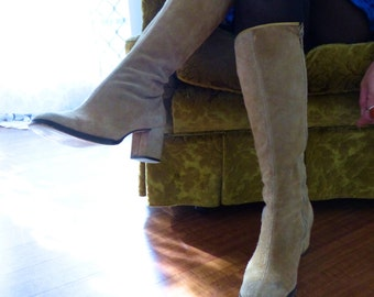 70's, Mod, Suede Leather, Camel, Knee High, Heel, Skyline - by Clarks Boots, Size 6
