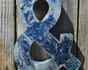 Medium vintage style 3D blue ampersand & symbol
