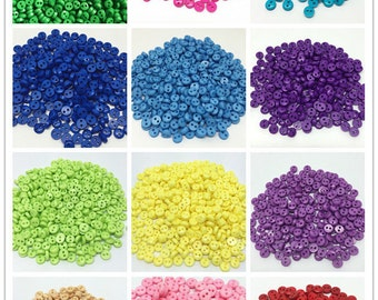 500pcs 6mm Round Resin Mini Tiny Buttons Sewing Embellishment Scrapbooking,15 Colors