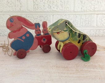 Pair of Vintage Pull Toys 1930s 1950s