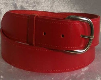 """Red  leather belt with 1.25"""" nickel buckle Made to Order"""