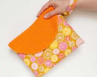Crasty Flap/ Alfa/ Boho clutch bag for her, handbag with changeable crochet flap