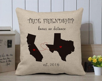 Personalized World Map And Date Pillow Case,Friendship Pillow Cover,Custom State Long Distance gift,Best Friend Cushion Pillow Cover To Her